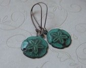 Sand Dollar Earrings, Teal Patina, Verdigris Sanddollars, Antiqued Copper Ear Wires, Beach Jewelry