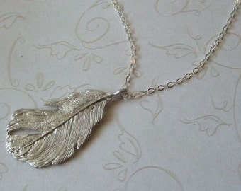 Feather Necklace, Sterling Silver Chain, Everyday, Graduation, Gift for, Wife, Sister, Friend
