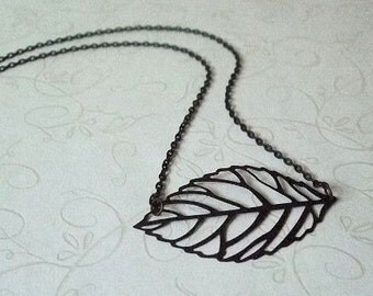 Black Leaf Necklace, Fall Fashion Jewelry, Steampunk, Trendy, Casual, Everyday, Gift for, Christmas, Birthday, Anniversary