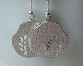 Tree Disc Earrings, Botanical Jewelry, Everyday, Sterling Silver Ear Wire
