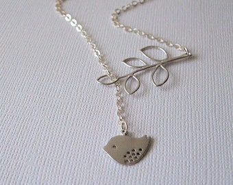 Silver Bird Necklace, Botanical Jewelry, Bird and Branch, Lariat Style, Sterling Silver Chain, Wedding Jewelry, Mother's Day