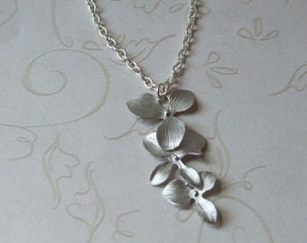 Silver Orchid Necklace, Bridesmaid gifts, Cascade necklace, Bridal Jewelry