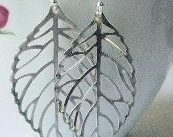 Dangle Leaf Earrings, Silver Jewelry, Minimalist, Delicate Leaf Pendants, Skeleton Leaves, Botanical Jewelry, Bridal Gift