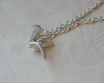 Origami Crane Necklace Silver, The Paper Chase, Everyday Necklace