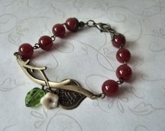 Twig and Carnelian Bracelet Antiqued Brass, Branch Bracelet
