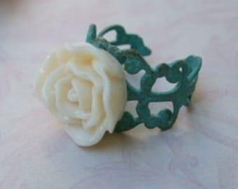 Verdigris Brass Ring Creme, Statement Jewelry, Cream Rose