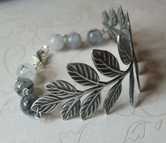 Fern. Antiqued Silver Branch and Tourmalinated Quartz Bracelet