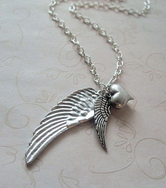 Angel Wing Charm Necklace, Mother Child Jewelry, Best Friend Jewelry, Memorial Jewelry, Gift for, Mother, Daughter, Sister, Girlfriend
