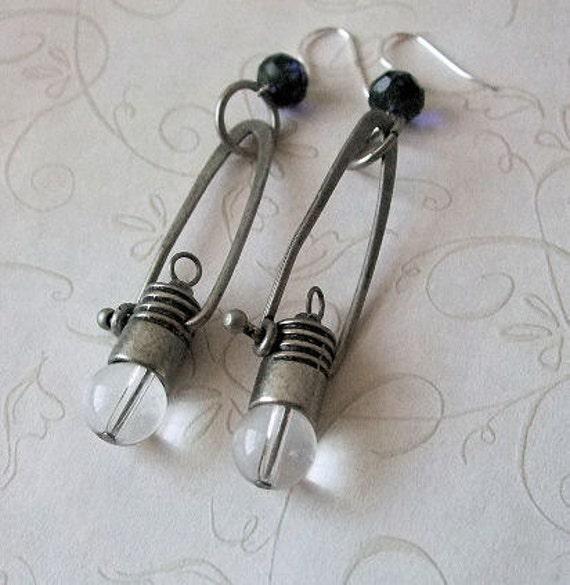 Light Bulb Earrings - Steampunk, Sterling Silver