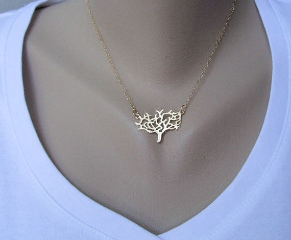 Gold Tree Necklace - Gold Filled Chain, everyday jewelry, gold jewelry, Tree of Life jewelry