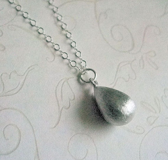 Textured Teardrop Necklace, Sterling Silver chain, Minimalist, Everyday, Gift for, Friend, Mother, Wife, Sister, Under 25