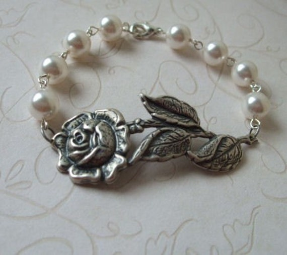 Rose Branch Bracelet and White Pearls, Victorian Inspired, Bridal Jewelry, Gift for, Bride, Bridesmaid, Friend, Wife, Mother, Sister