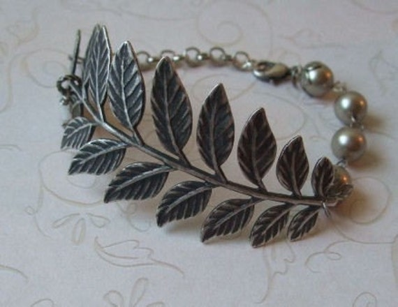 Fern Branch Bracelet / Antiqued Silver / Mother's Day jewelry / birthday / anniversary gift / handmade