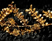 Art Noueau Tiara Corsage Antique Boutonniere Gold Metal Wedding Garland Grecian Bridal Goddess Headdress Myrtle Flowers