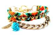 Modern Friendship Bracelet, Turquoise Bead and Swarovski Crystals, Vintage Gold Chain