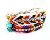 Modern Friendship Bracelet, Swarovski Crystals, Vintage Brass Chain
