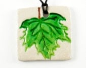 Simple Green Leaf Clay Pendant Necklace