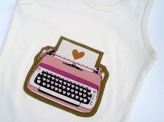 The TYPEWRITER Tank- on an American Apparel Organic Cotton Tank