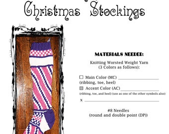 Candy Stripes Christmas Stocking Pattern