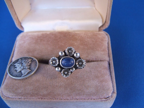 Six Point Star Sapphire and Sterling Silver Ring, Size 7, signed, LR