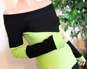 Cyber Slant •  Top • Shirt • Long Sleeves • V1 • Neon Green • Black •Custom Size • Small / Medium / Large / XL