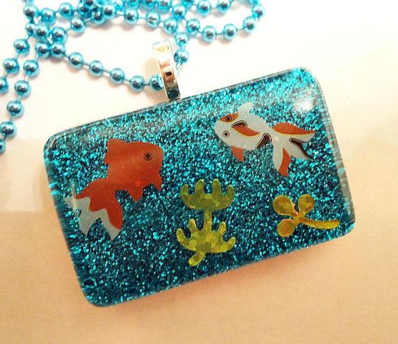 ON SALE Aquarium Pendant (Glitter Resin Fish Necklace)