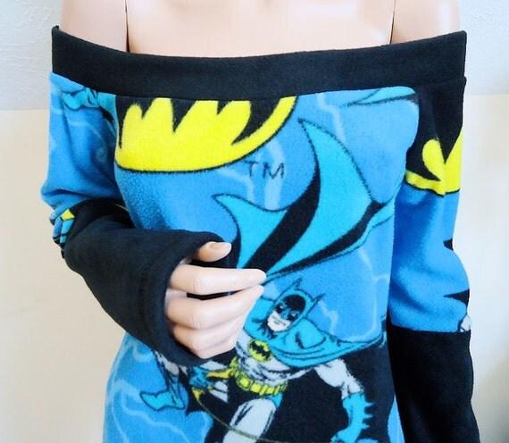 Custom Batman Stretch Fleece Off Shoulder / Slouch Top in YOUR Size S M L XL 1X 2X