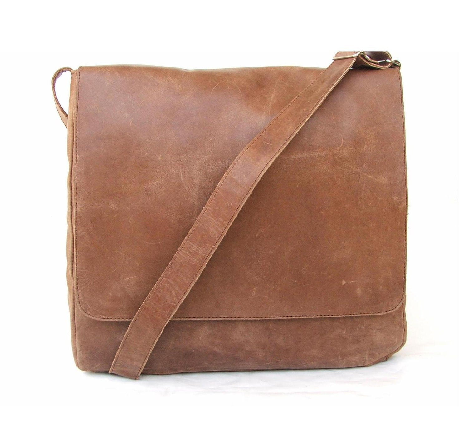 leather laptop bag Messenger bag Men Brown Leather handbag