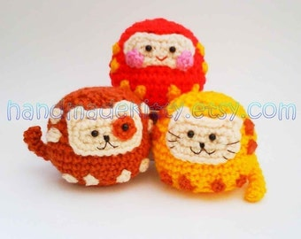 Daruma Japanese wish dolls Kitty Doggy Amigurumi PDF Crochet pattern