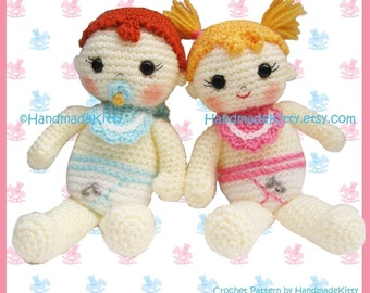 Baby Boy and Baby Girl Amigurumi PDF Crochet Pattern by HandmadeKitty