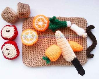 Kitchen play set with Fruits, Vegetables and Chopping board PDF Crochet Pattern