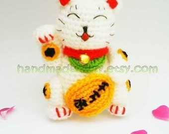 Maneki Neko Lucky Cat Amigurumi PDF Crochet Pattern