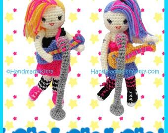 Pinky Highlights Rock & Pop Stars Amigurumi PDF Crochet Pattern by HandmadeKitty