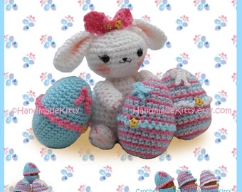 Easter Bunny with Cute Egg Cozy Cases Amigurumi PDF Crochet Pattern by HandmadeKitty