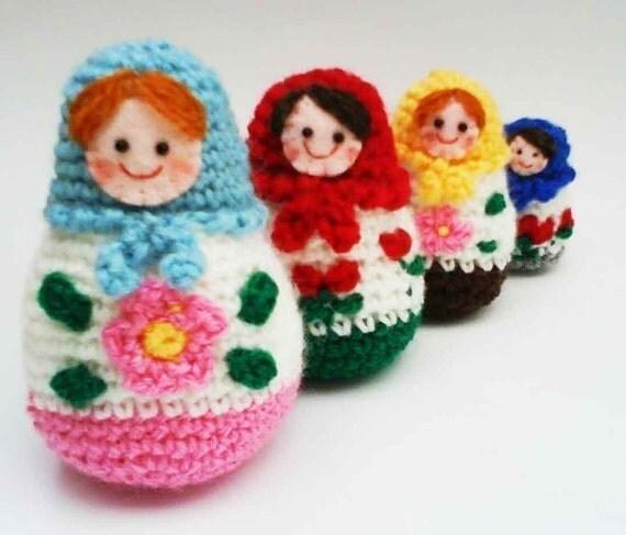 Russian Matryoshka amigurumi babushka Dolls PDF Crochet Pattern