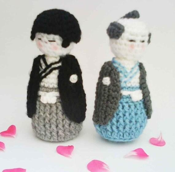 Japanese Amigurumi Doll Patterns : Japanese Kokeshi Boy doll Amigurumi PDF Crochet Pattern