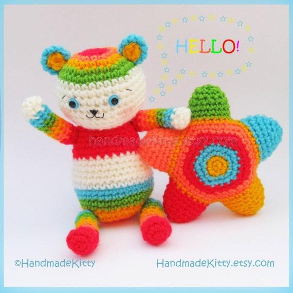 Rainbow Bear Star Amigurumi PDF Crochet Pattern by HandmadeKitty