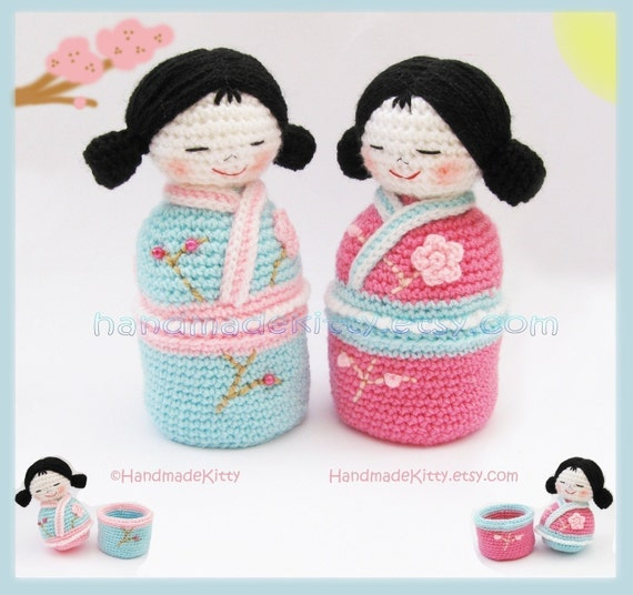 Japanese kokeshi girls jewelry box Amigurumi PDF Crochet Pattern by HandmadeKitty