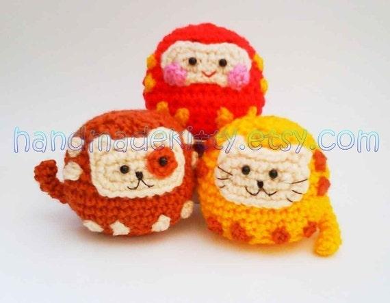 Daruma Japanese wish dolls Kitty Doggy Amigurumi PDF Crochet pattern