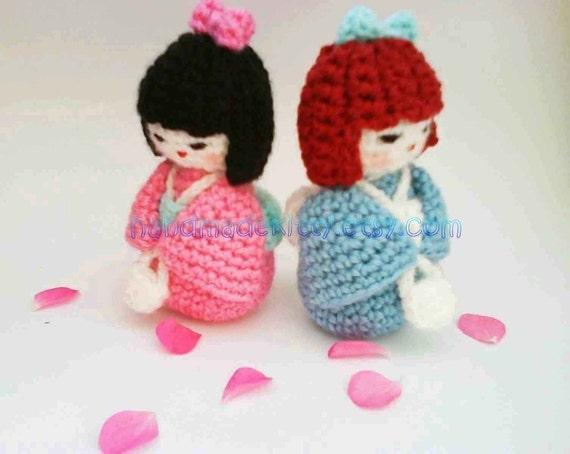 Japanese kokeshi girl doll amigurumi PDF Crochet pattern