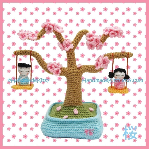 Sakura Cherry Blossom Bonsai with Kokeshi Children in a Swing Amigurumi Crochet Pattern by HandmadeKitty