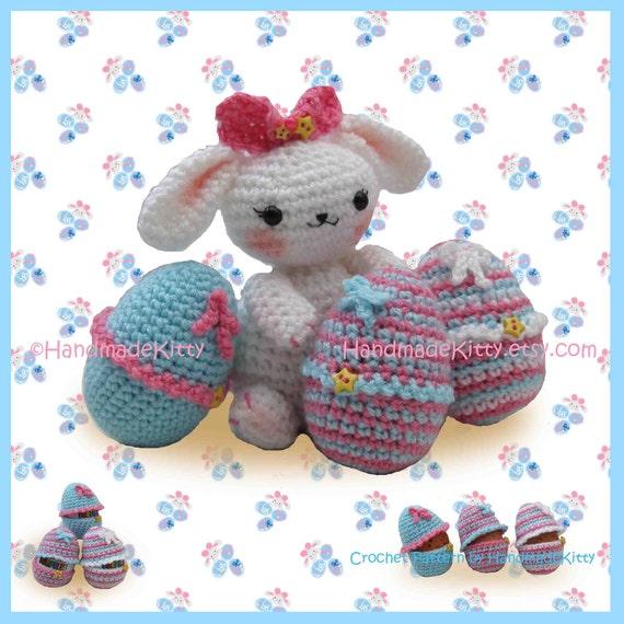 Easter Bunny with Cute Egg Cozy Cases Amigurumi PDF Crochet Pattern by HandmadeKitty