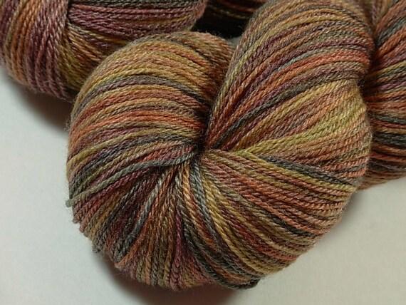 Sock Weight Superwash Merino Wool/Bamboo Yarn, Hand Dyed - Nutmeg Multi