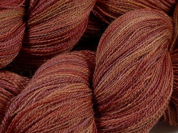 Lace Weight Baby Alpaca/Silk Yarn, Hand Dyed - Bricks