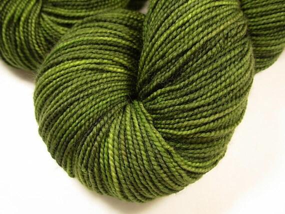 Sock Weight Superwash Merino Wool Yarn, Hand Dyed - Moss Tonal
