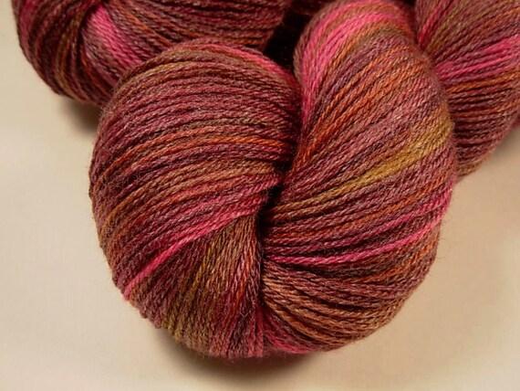 Sock Weight Superwash Merino Wool/Bamboo Yarn, Hand Dyed - Merlot Multi