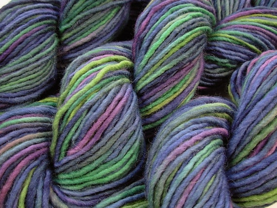 Chunky Weight Wool/Alpaca Yarn, Hand Dyed - Ink Multi