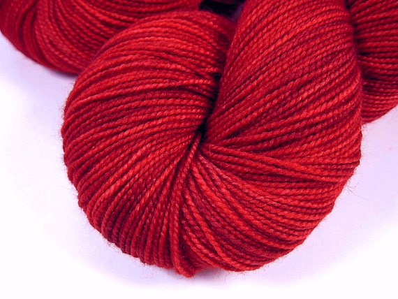 Sock Weight Superwash Merino Wool Yarn, Hand Dyed - Ruby Tonal