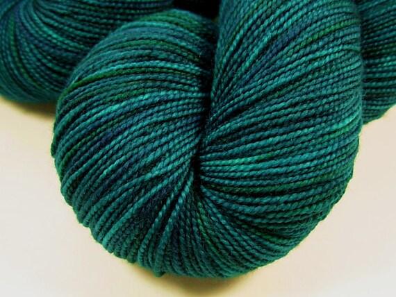 Sock Weight Superwash Merino Wool Yarn, Hand Dyed - Deep Sea Tonal