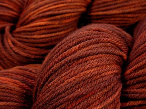 Worsted Weight Superwash Merino Lambswool Yarn - Redwood Tonal - Hand Dyed Yarn, Knitting Supplies